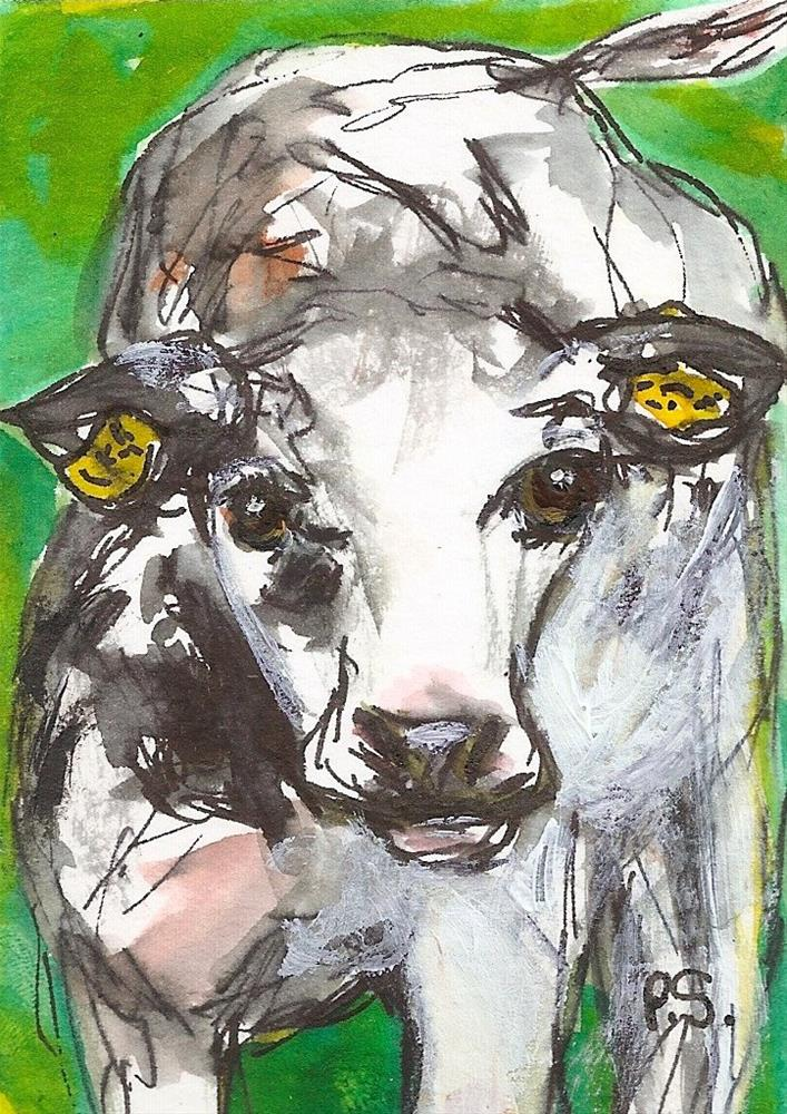 """ACEO Cow Black + White Illustration Art Watercolor + Pen by Penny StewArt"" original fine art by Penny Lee StewArt"