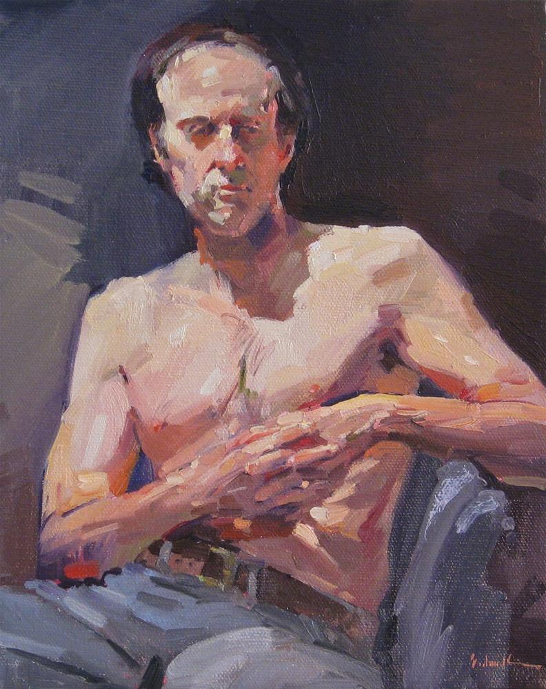 """""""The Clasped Hands male nude figure painting fine art original figurative oil"""" original fine art by Sarah Sedwick"""