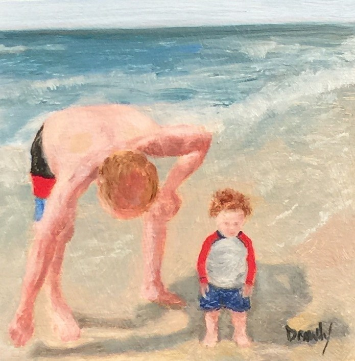 """Man and Baby on the Beach"" original fine art by Stephanie Drawdy"
