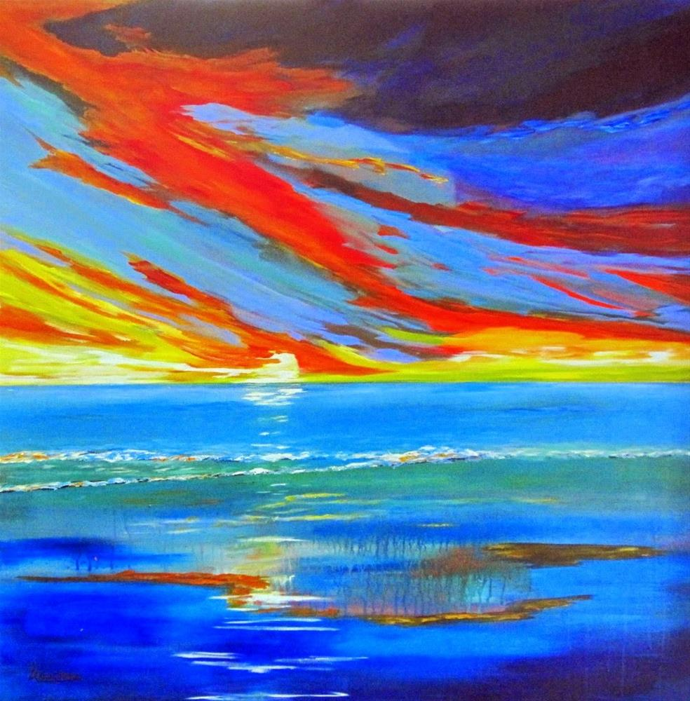 """Arrachmes Abstract Seascape Painting Essential Line Of Defense by Contemporary International Arti"" original fine art by Arrachme Art"
