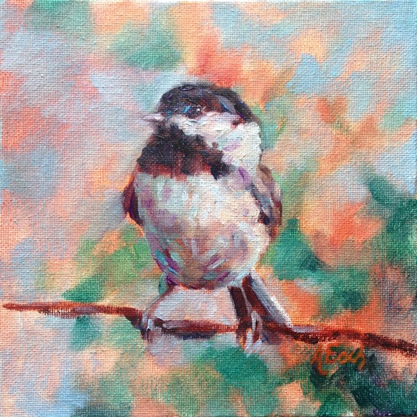 """Chickadee"" original fine art by Audra Esch"