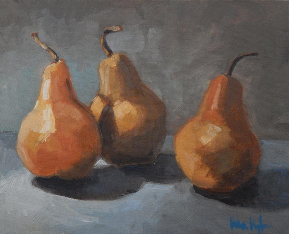"""Dancing Pears"" original fine art by Lisa Kyle"