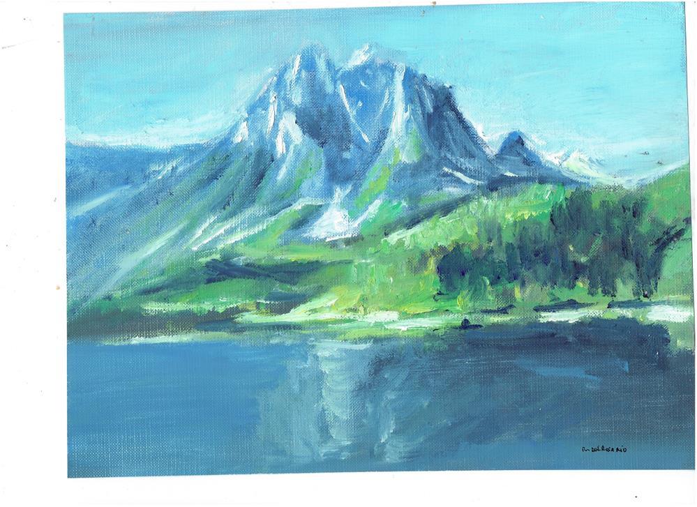 """The Mountain (8 x 10 oil on canvas sheet - no frame)"" original fine art by Ramon DelRosario"