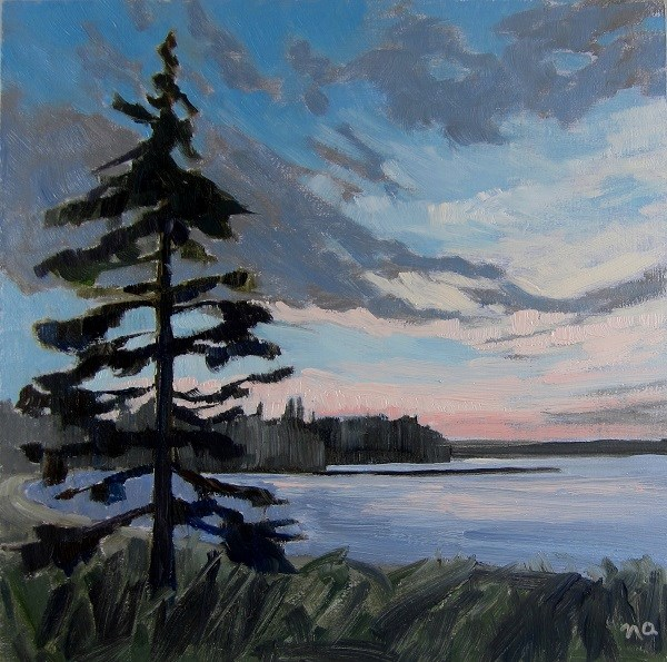 """Dusk, Main Beach, Waskesiu"" original fine art by Nicki Ault"
