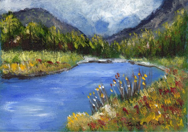 """Spring River ACEO"" original fine art by Janet Graham"