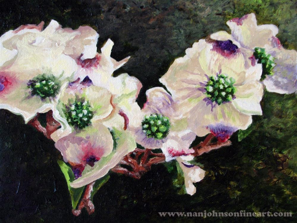 """Dogwood Blossoms"" original fine art by Nan Johnson"