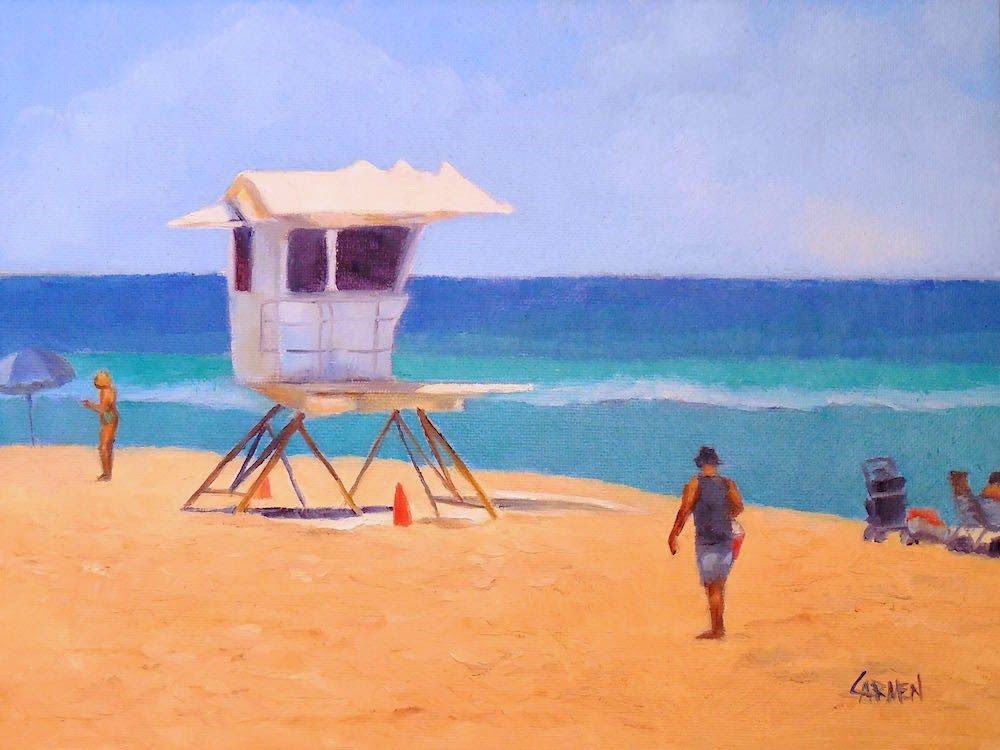 """Lifeguard Shack, 8x6 Oil on Canvas Panel, Beach Scene"" original fine art by Carmen Beecher"