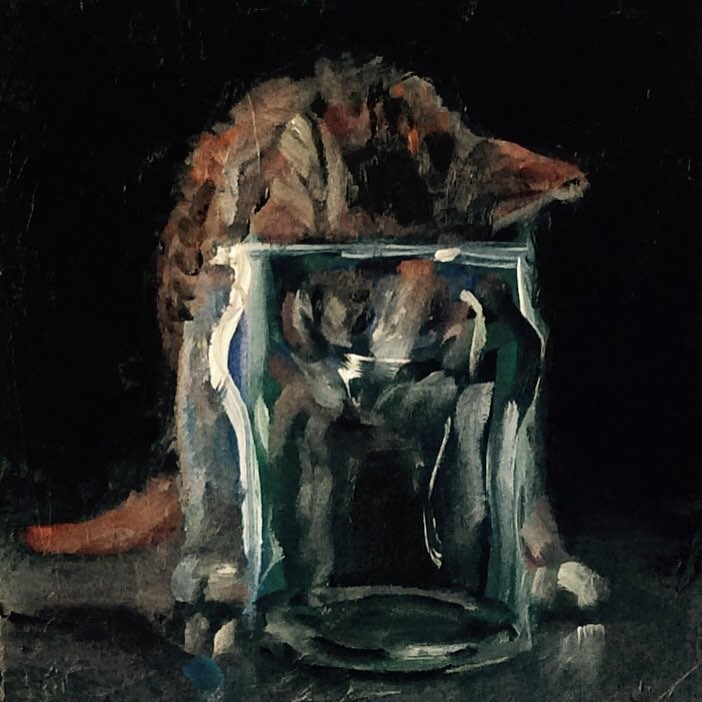 """Glass with Kitten"" original fine art by Rachel K Schlueter"