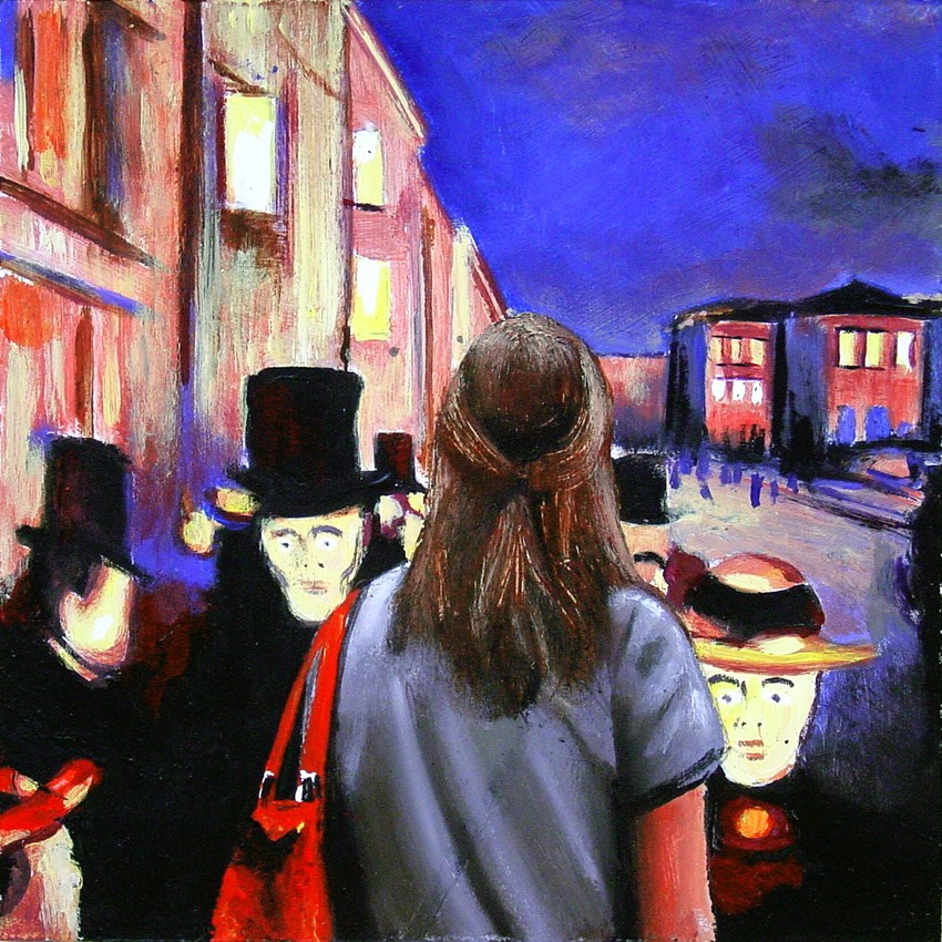 """Evening On The Karl Johan Street- Painting Of Woman Enjoying Painting By Edvard Munch"" original fine art by Gerard Boersma"