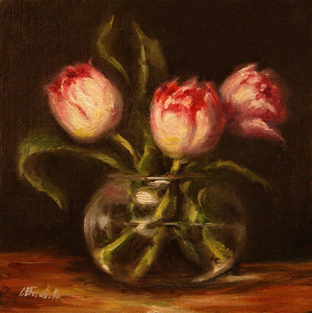 """Pink Tulips in Glass Bowl,  Oil on 6x6 Linen Panel"" original fine art by Carolina Elizabeth"