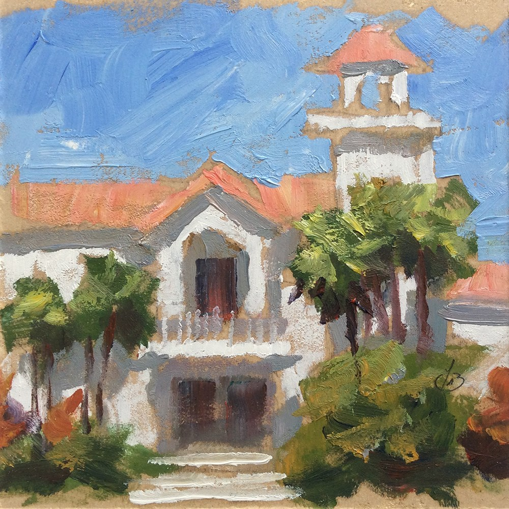 """CALIFORNIA ARCHITECTURE WITH PALM TREES"" original fine art by Tom Brown"