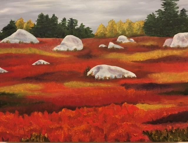 """Blueberry Barrens with Rocks"" original fine art by Karen Collins"