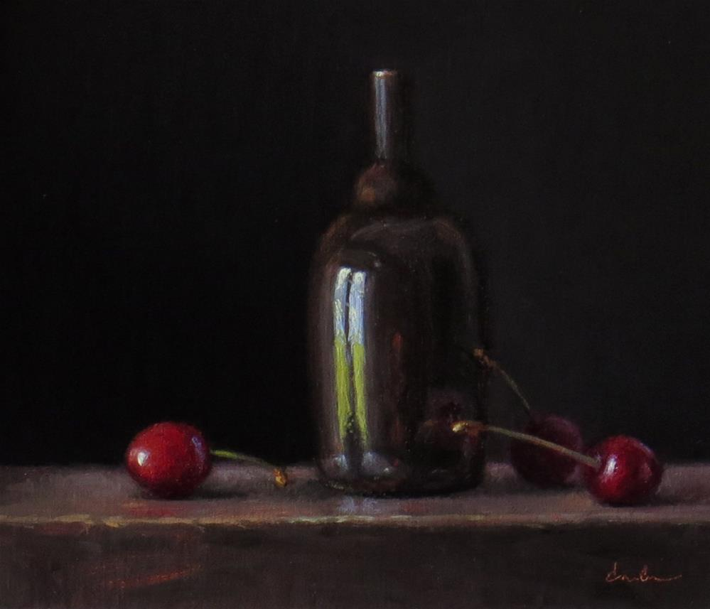 """Still Life with Temple Bottle and Cherries"" original fine art by Darla McDowell"