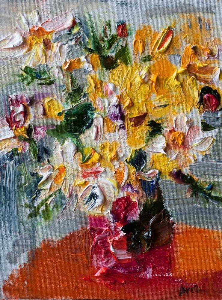 """Bouquet of Yellow & White Wildflowers"" original fine art by Anna  Fine Art"