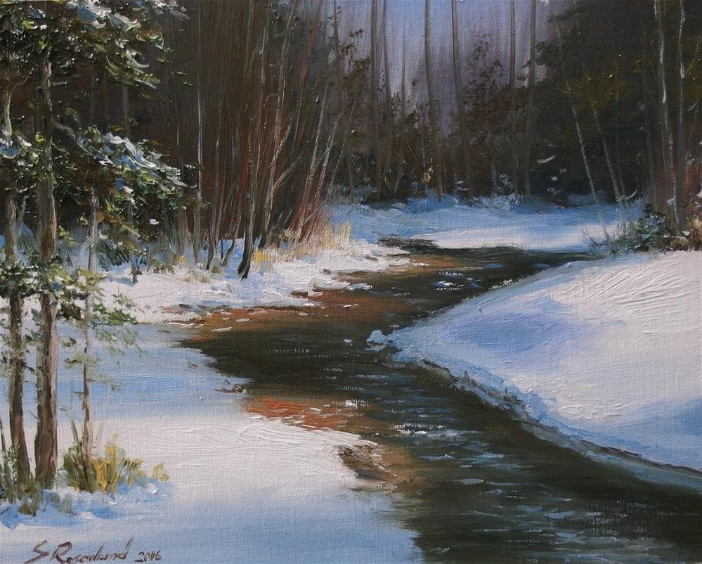 """Winter stream"" original fine art by Stig Rosenlund"