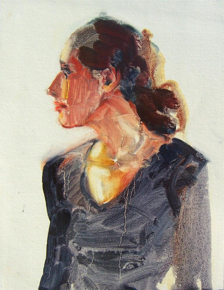 """Fast Sketch of Nicole,figure,oil on canvas,16x12,price$200"" original fine art by Joy Olney"