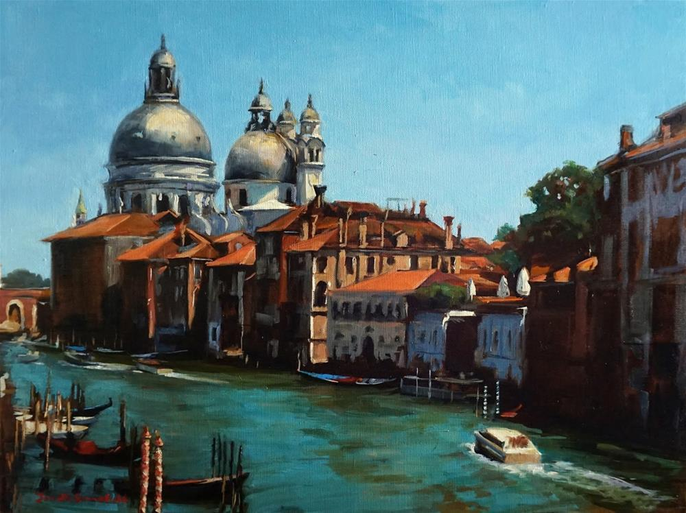 """View of Basilica di Santa Maria Della Salute"" original fine art by Jonelle Summerfield"