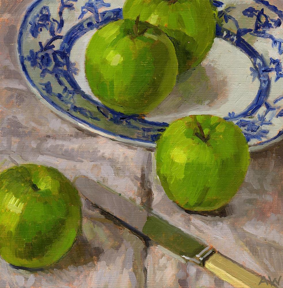 """""""Four Green Apples"""" original fine art by Angie Wood"""