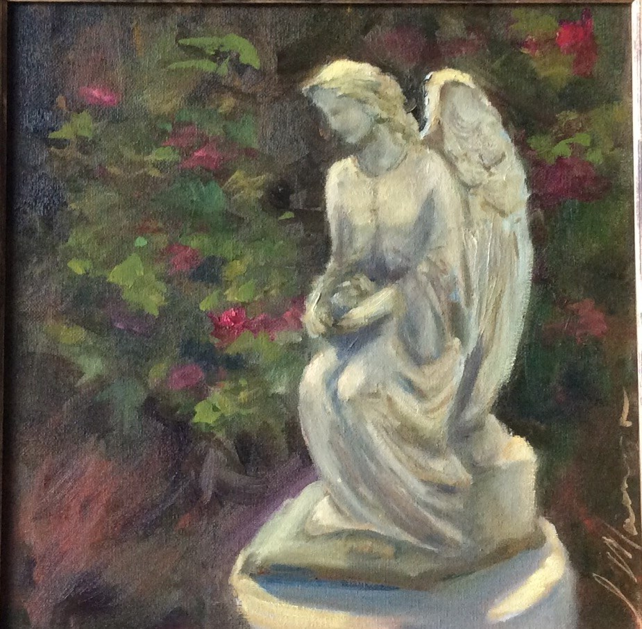 """Garden Angel"" original fine art by Susie Monzingo"