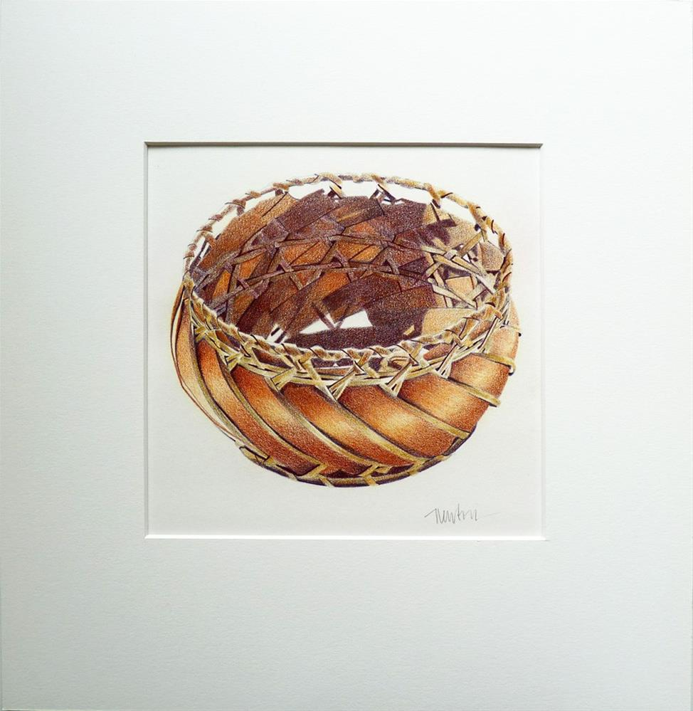 """Basket - how to illustrate basketry in colored pencil"" original fine art by Barbara Benedetti Newton"
