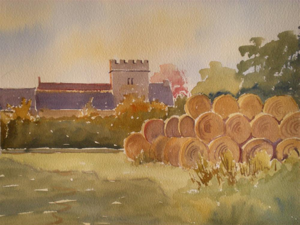 """Hay Bales at Church Farm"" original fine art by Graham Findlay"