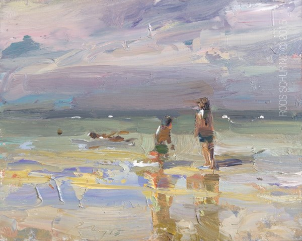 """Beach Painting Kids on the Beach Morning Light"" original fine art by Roos Schuring"
