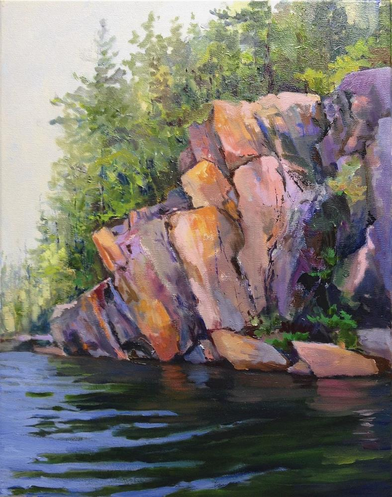 """""""Rock Face in Pinks and Purples"""" original fine art by Cathy Boyd"""