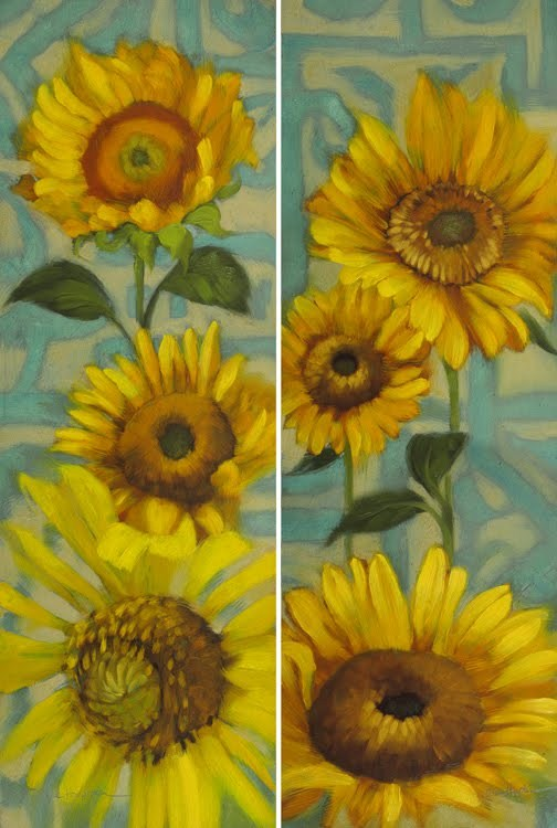 """Sunflower Rhapsody I&II pair colorful floral"" original fine art by Diane Hoeptner"