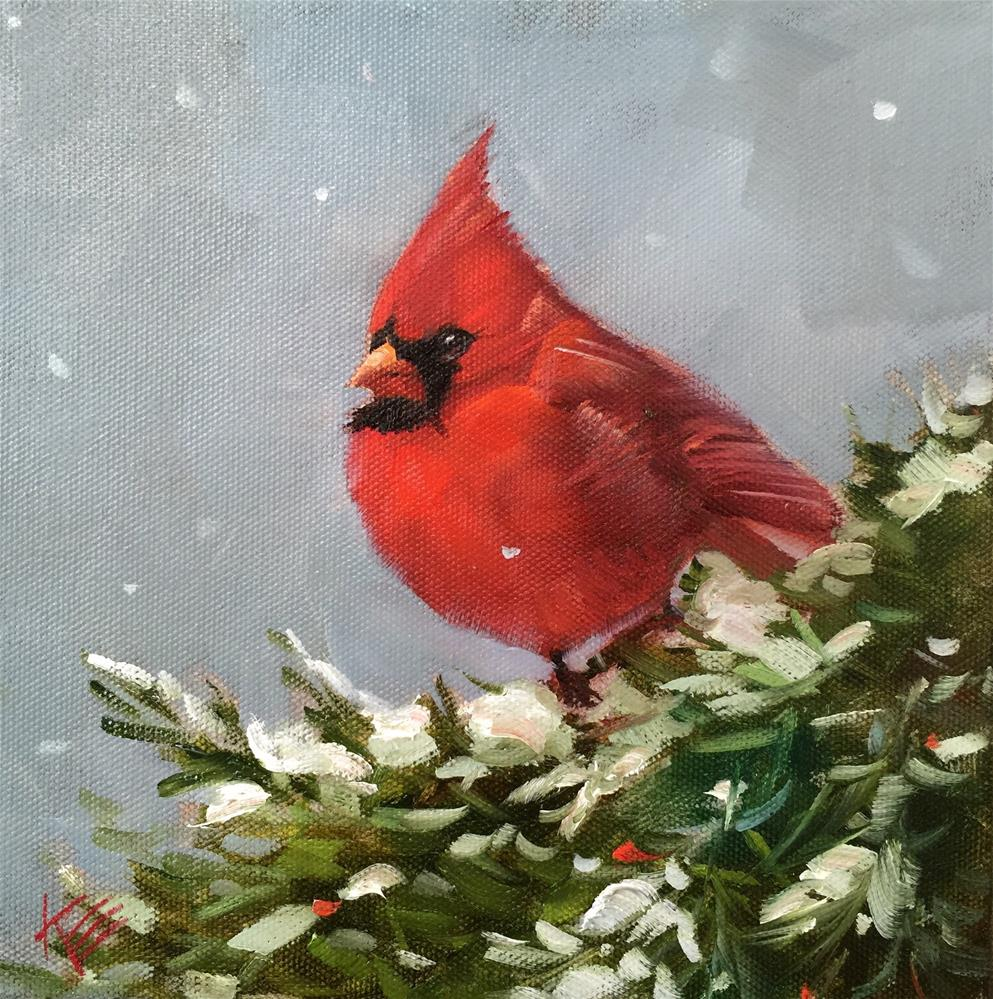 """Northern Cardinal"" original fine art by Krista Eaton"
