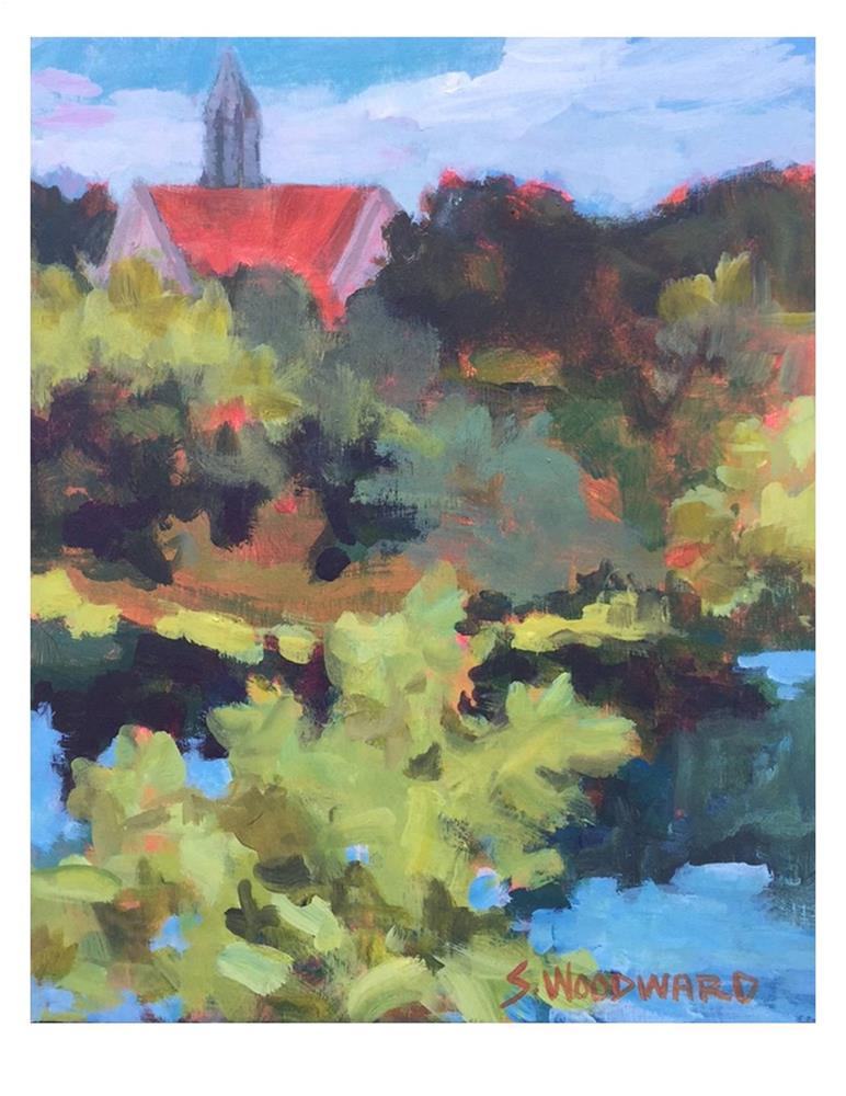 """Red Roof"" original fine art by Suzanne Woodward"
