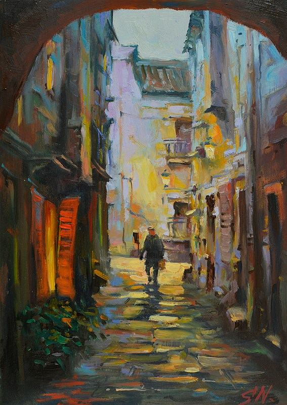 """Sicilian night – Narrow alley, Cityscape oil painting"" original fine art by Nick Sarazan"