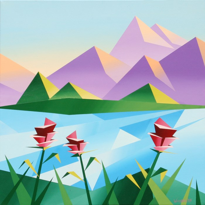 """""""Mark Webster - Abstract Sunrise at the Mountain Lake #2 - Abstract Acrylic Landscape Painting"""" original fine art by Mark Webster"""