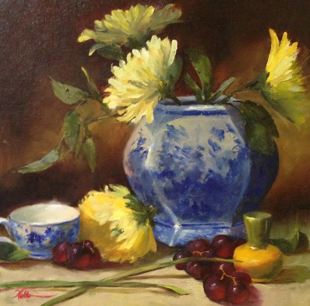 """Blue Vase with Yellow Chrysanthemums"" original fine art by Dorothy Woolbright"