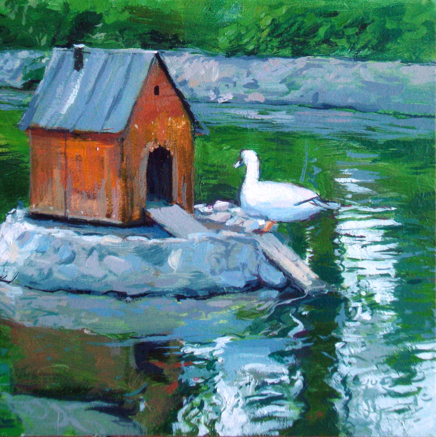"""The lake´s  house"" original fine art by Víctor Tristante"