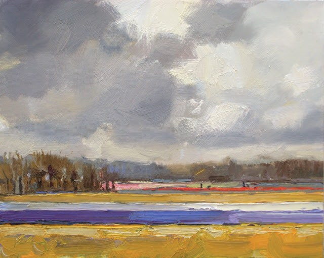 """Landscape spring #10 Purple and yellow"" original fine art by Roos Schuring"