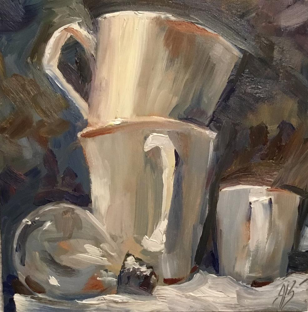 """White cups excercise # 3"" original fine art by Annette Balesteri"