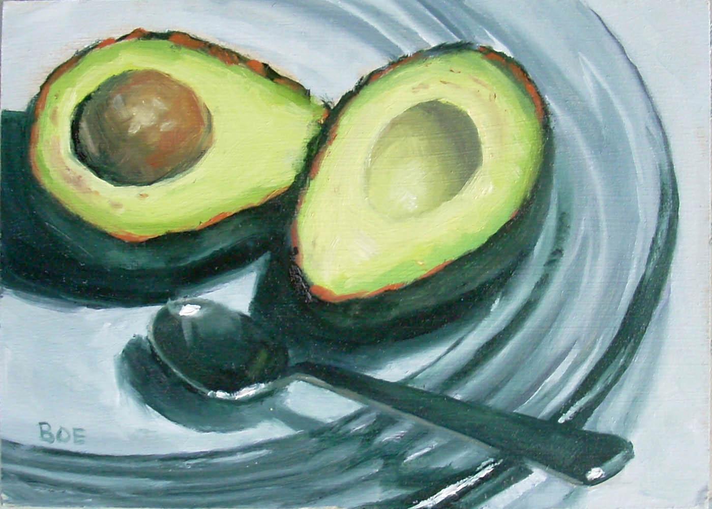 """Avocado On Glass Plate"" original fine art by Karen Boe"