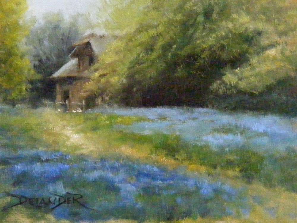 """Cottage in the Forest, Landscape,Oil on Canvas,6x8,price $95."" original fine art by Diana Delander"