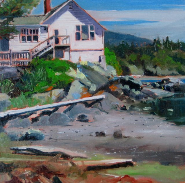 """Eastsound Church  Plein air painting , Orcas Island and Awards"" original fine art by Robin Weiss"