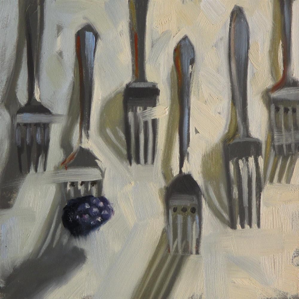 """Berry nice forks  6 x 6  oil"" original fine art by Claudia Hammer"