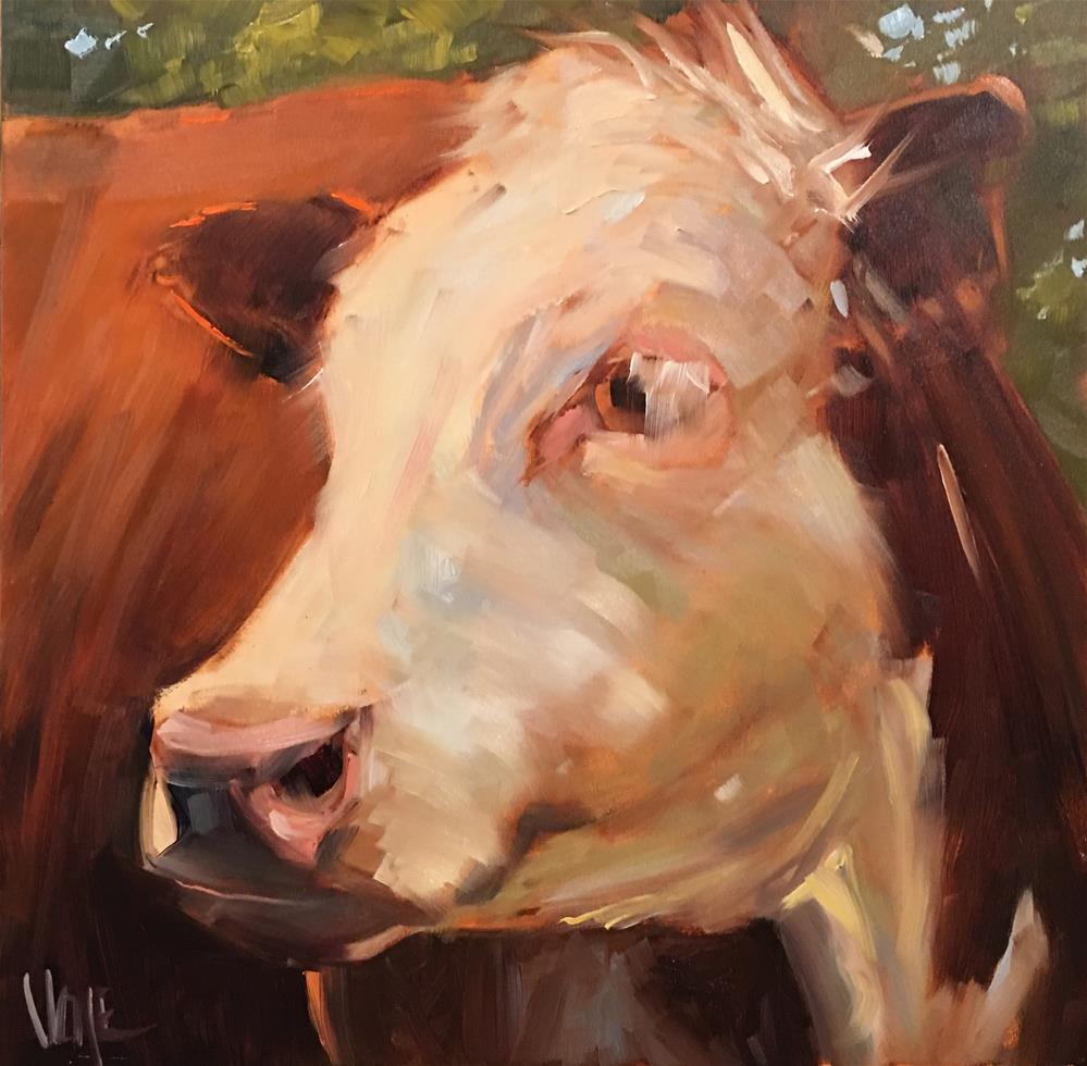 """#415 Cow Contemplation"" original fine art by Patty Voje"
