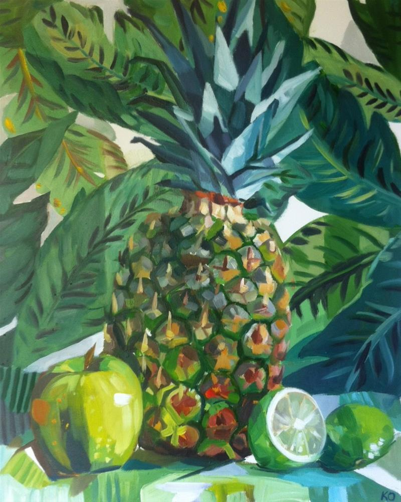 """Pineapple, (Green Still Life)"" original fine art by Katy O'Connor"