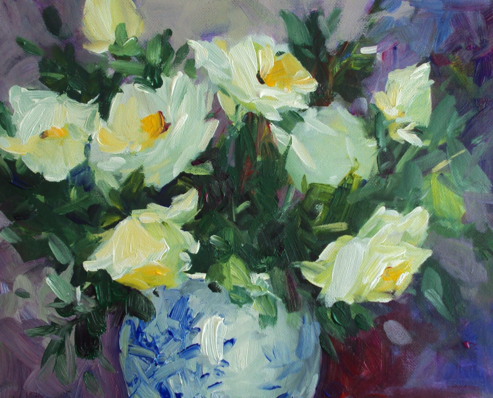 """wild cottage roses"" original fine art by Parastoo Ganjei"