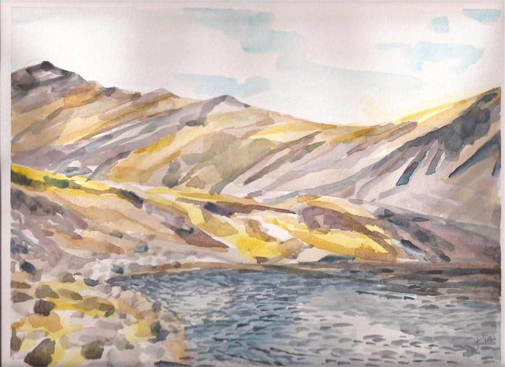 """Upper Venable Lake, Sangres de Cristo Mountains, Colorado"" original fine art by Jean Krueger"