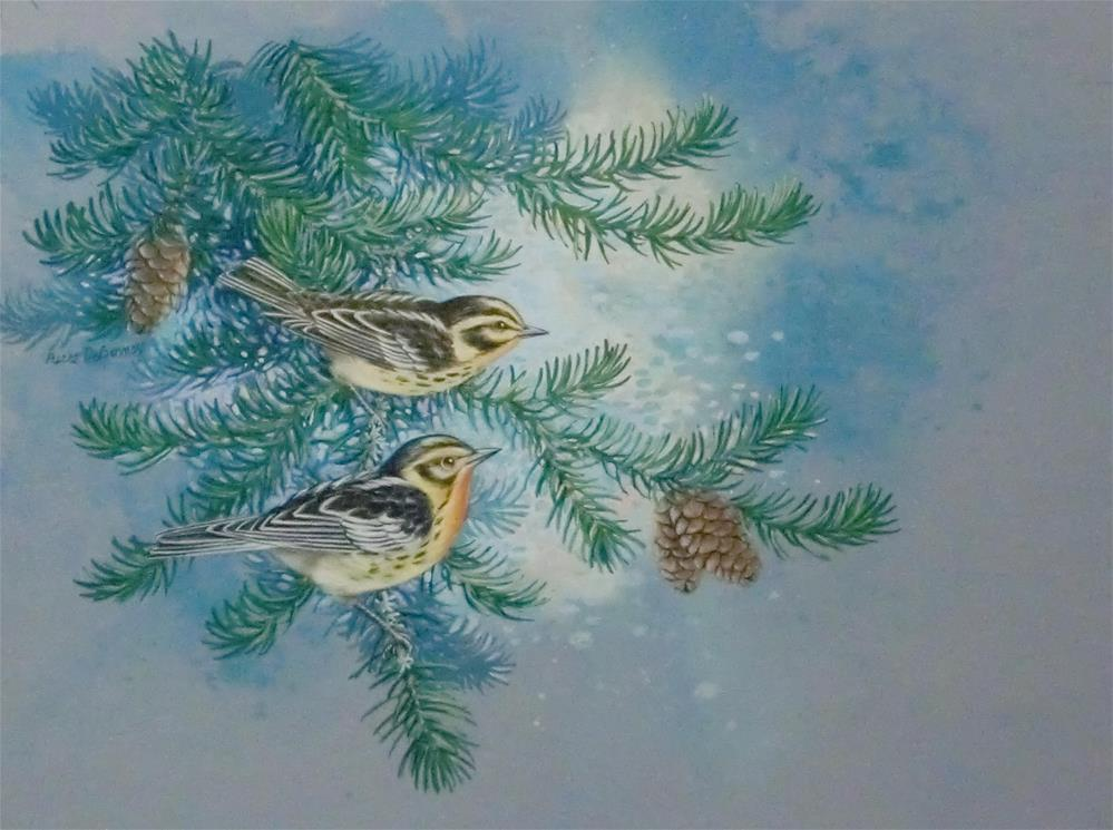 """Blackburnian Warblers"" original fine art by Jean Pierre DeBernay"
