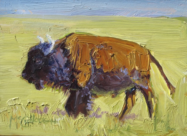 """Bison at Zapata"" original fine art by Susan McCullough"