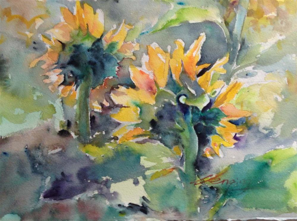 """sunflowers"" original fine art by Wenqing Xu"