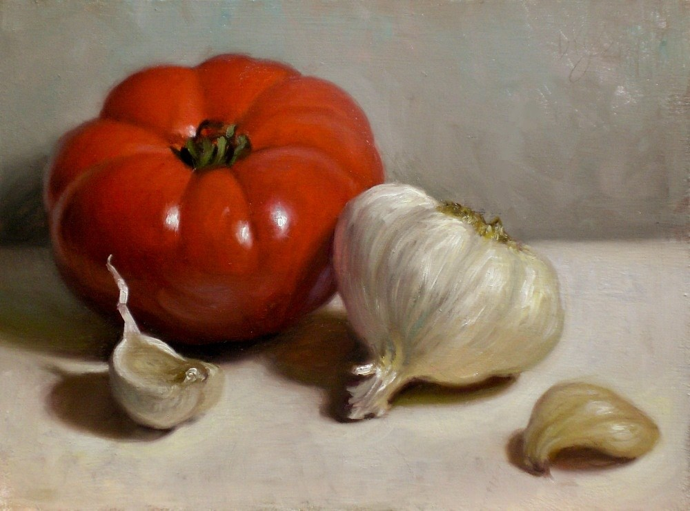 """Tomato and Garlic"" original fine art by Debra Becks Cooper"