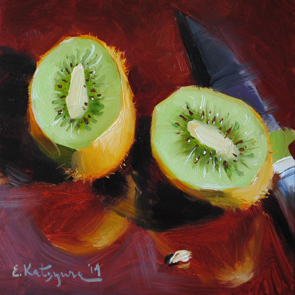 """Kiwi Halves"" original fine art by Elena Katsyura"