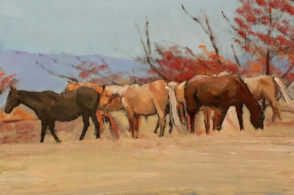 """Michaels's Horses (10.5 x 7 Oil on canvas sheet - no frame)"" original fine art by Ramon DelRosario"